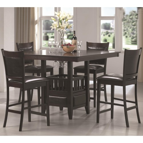 Coaster Jaden Square Counter Height Table & Cushioned Stool Set