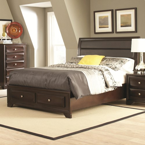 Coaster Jaxson California King Bed with Upholstered Headboard and Storage Footboard