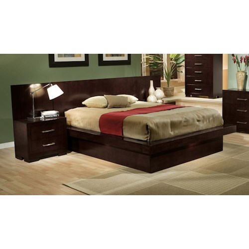 Coaster Jessica Queen Pier Platform Bed with Rail Seating and Lights