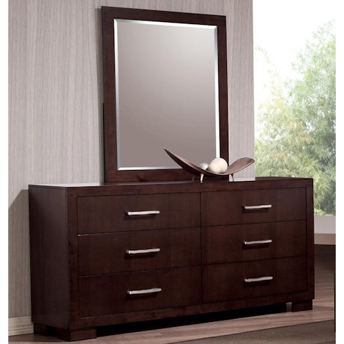 Coaster Jessica 6 Drawer Dresser and Wall Mirror