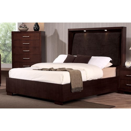 Coaster Jessica King Bed with with Built-in Touch Lighting