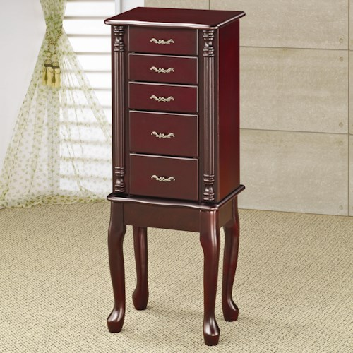Coaster Jewelry Armoires Traditional Queen Anne Style Jewelry Armoire in Cherry Finish