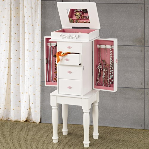 Coaster Jewelry Armoires White Jewelry Armoire with Pink Hardware