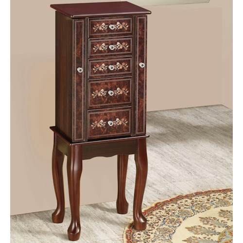Coaster Jewelry Armoires 5 Drawer Jewelry Armoire with Floral Accents