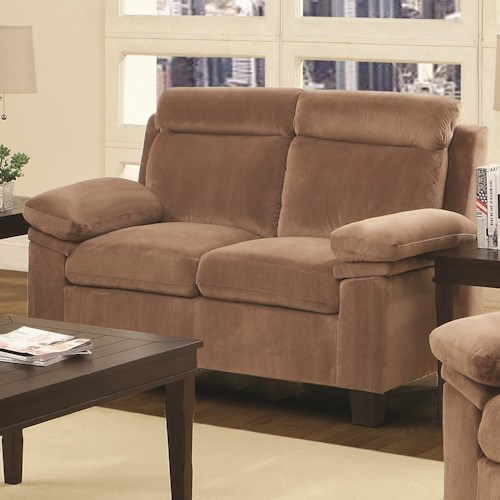 Coaster Jovana Casual Loveseat with Pillow Topped Arms