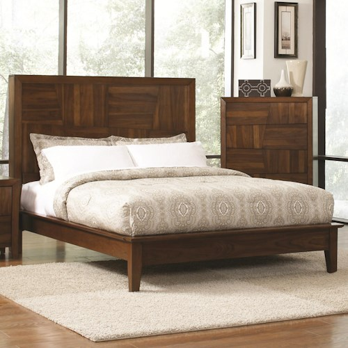 Coaster Joyce Queen Platform Bed w/ Tall Headboard