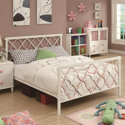 Coaster Juliette Full Bed w/ Metal Headboard & Footboard w/ Pink Quatrefoil Motifs