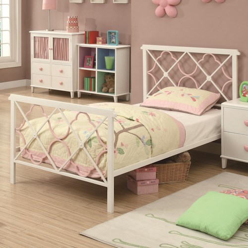 Coaster Juliette Twin Bed w/ Metal Headboard & Footboard w/ Pink Quatrefoil Motifs