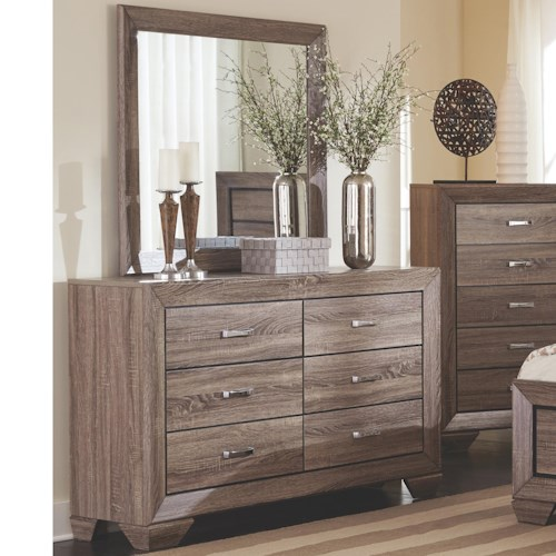 Coaster Kauffman Dresser with 6 Drawers and Mirror Set