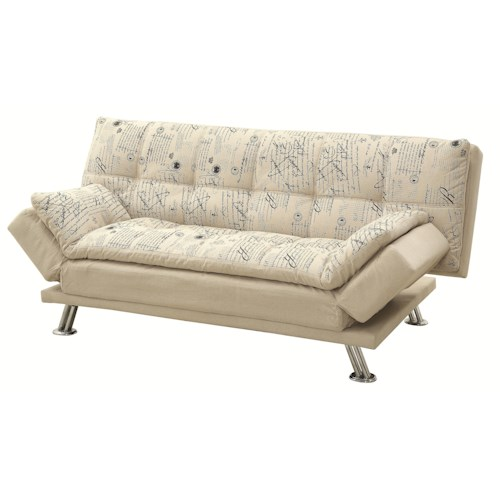 Coaster Kay Kay Sofa Bed with Script Pattern and Metal Legs