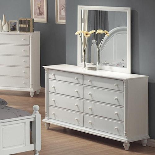 Coaster Kayla 8 Drawer Dresser and Mirror