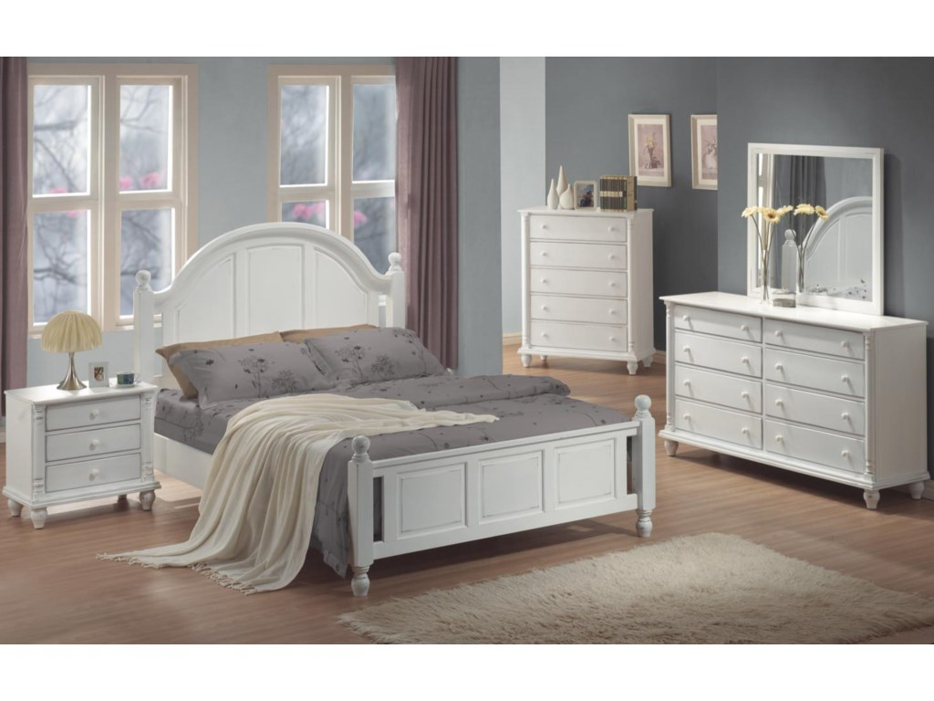 Shown in Room Setting with Nightstand, Queen Bed, Chest, and Dresser
