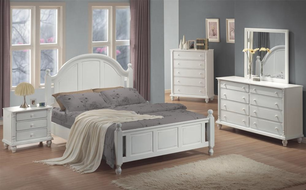 Shown in Room Setting with Nightstand, Queen Bed, Dresser, and Mirror