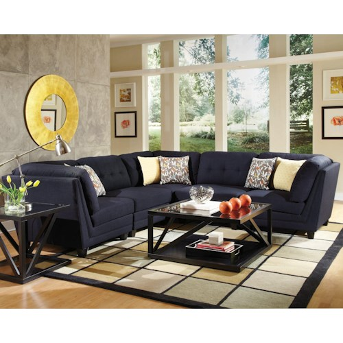 Coaster Keaton Transitional Five Piece Sectional Sofa with Tufting