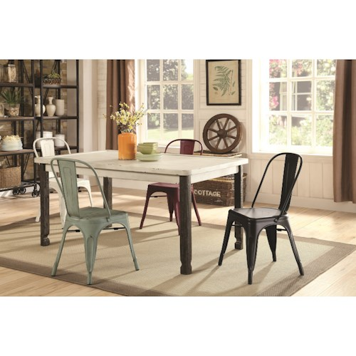 Coaster Keller Vintage Rectangular Dining Table with Distressed Finish