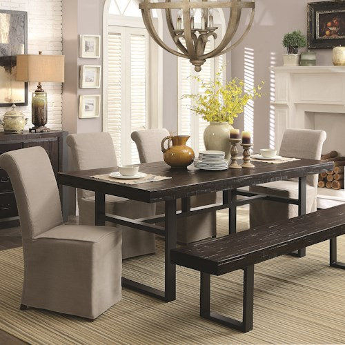 Coaster Keller Contemporary 6 Piece Dining Set with Bench