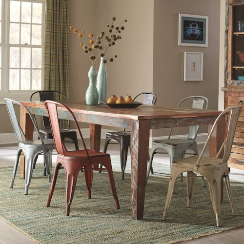 Coaster Keller Rustic 7 Piece Table Set with a Distressed Finish