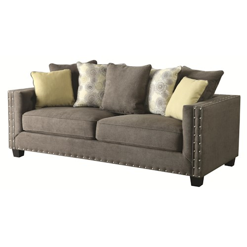 Coaster Kelvington Tuxedo Sofa with Nail Head Trim