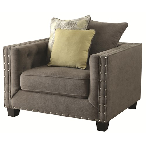 Coaster Kelvington Upholstered Chair with Nail Head Trim