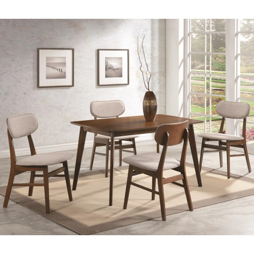 Coaster Kersey 5 Piece Dining Set with Upholstered Side Chairs