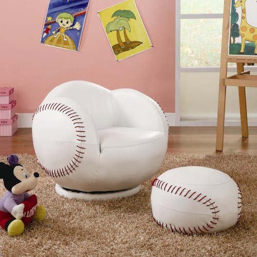 Coaster Kids Sports Chairs Small Kids Baseball Chair and Ottoman