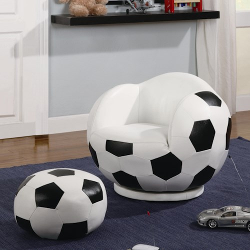 Coaster Kids Sports Chairs Small Kids Soccer Ball Chair and Ottoman