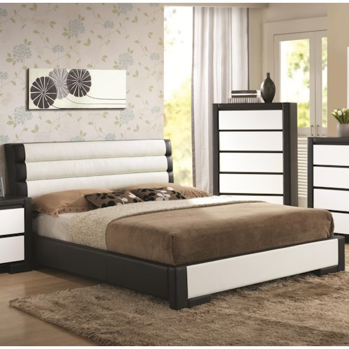 Coaster Regan California King Platform Bed with Channel Tufted Upholstered Headboard