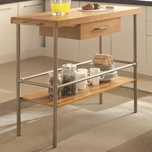 Coaster Kitchen Carts Kitchen Island with Solid Bamboo Top and Metal Legs