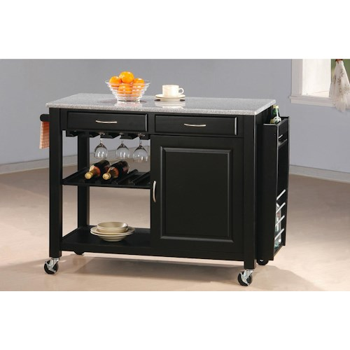 Coaster Kitchen Carts Kitchen Cart with Granite Top