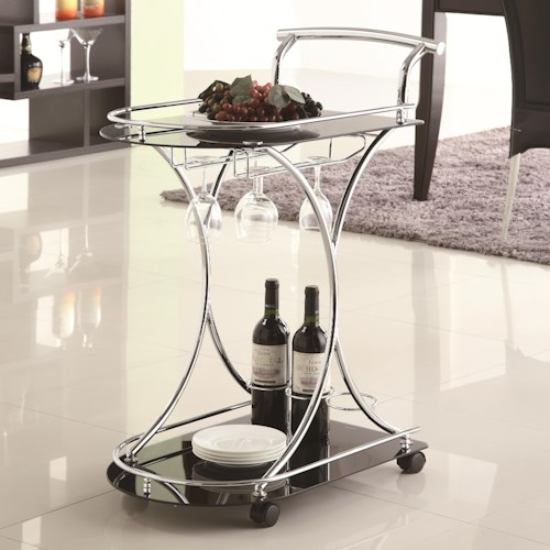 Coaster Kitchen Carts Serving Cart with 2 Black Glass Shelves