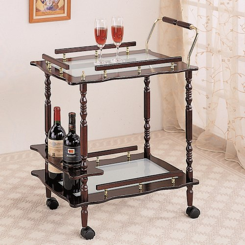 Coaster Kitchen Carts Cherry Serving Cart with Frosted Glass Top & Casters