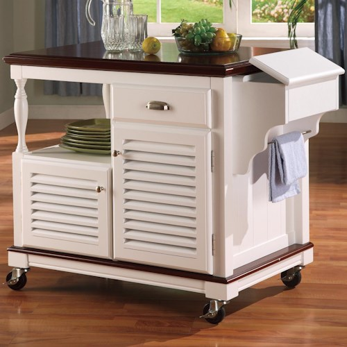 Coaster Kitchen Carts Cherry Topped Kitchen Cart
