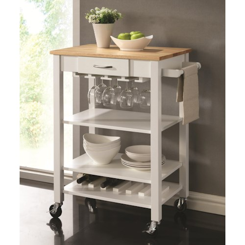 Coaster Kitchen Carts White/Natural Kitchen Cart with Butcher Block Top