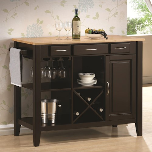 Coaster Kitchen Carts Kitchen Cart with Butcher Block Top