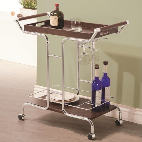 Coaster Kitchen Carts Contemporary Serving Cart with Stemware Rack and Casters