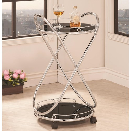 Coaster Kitchen Carts Modern Rolling Serving Cart in Tempered Glass and Chrome