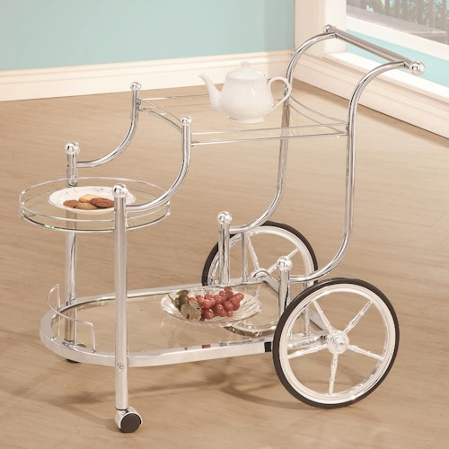 Coaster Kitchen Carts Traditional Wheeled Serving Cart with Chrome Finials