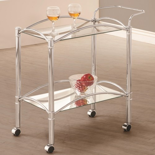 Coaster Kitchen Carts Chrome Serving Cart with Mirrored Bottom Shelf and Casters