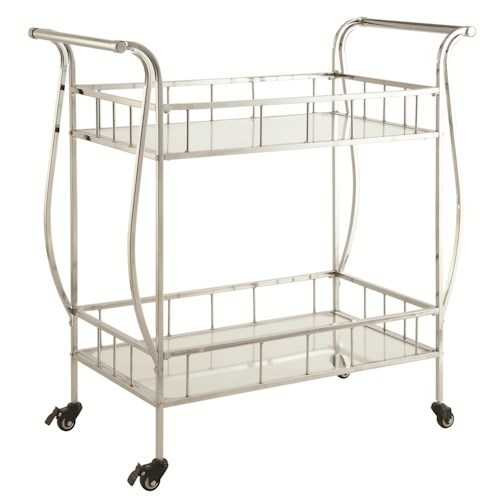 Coaster Kitchen Carts Serving Cart with Glass Top and Bottom Shelves