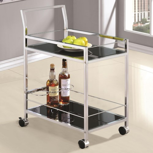Coaster Kitchen Carts Chrome Serving Cart with Black Tempered Glass