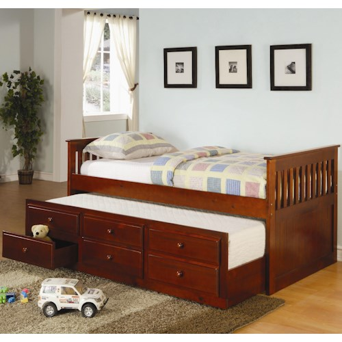 Coaster La Salle Twin Captain's Bed with Trundle and Storage Drawers