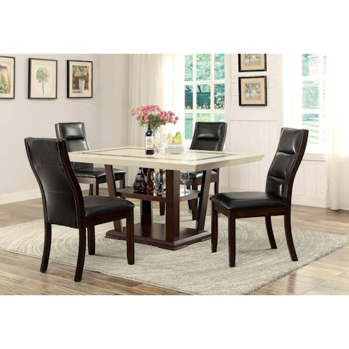 Coaster Lacombe 5 Piece Rectangular Table Set with Parson Side Chairs