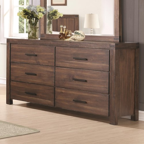 Coaster Lancashire Six Drawer Dresser with Felt-Lined Top Drawers and Removable Jewelry Tray