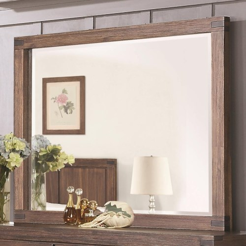 Coaster Lancashire Rectangular Mirror with Exposed Finger Joint Detailing