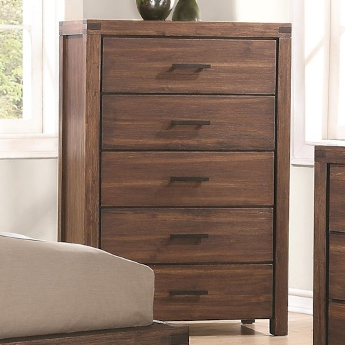 Coaster Lancashire Five Drawer Chest with Felt-Lined Top Drawer