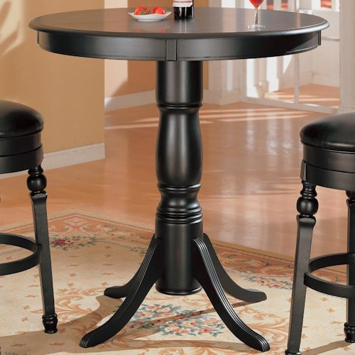 Coaster Lathrop Classic Round Bar Table with Pedstal Base