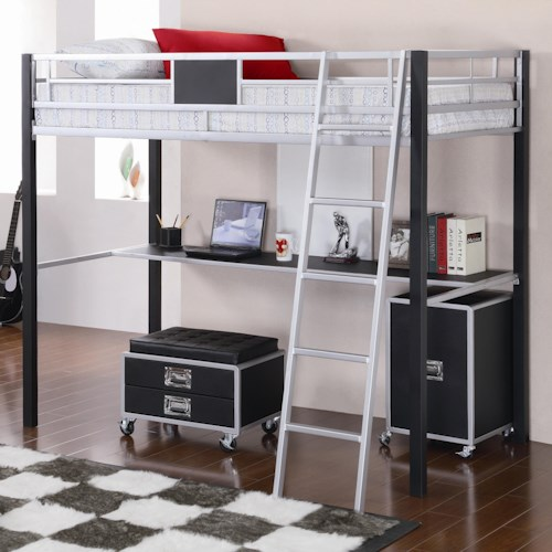 Coaster LeClair Twin Loft Bed with Desk