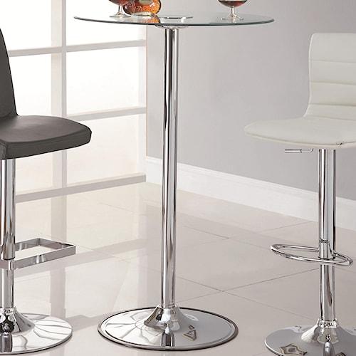 """Coaster LED 42"""" Transitioning LED Bar Table with Chrome Base"""