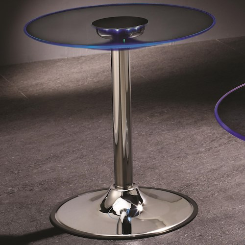 Coaster LED Transitioning LED End Table with Chrome Base
