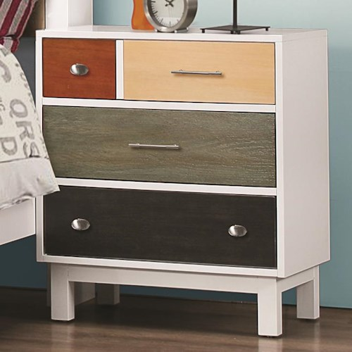Coaster Lemoore Mutli-Color Nightstand with Four Drawers